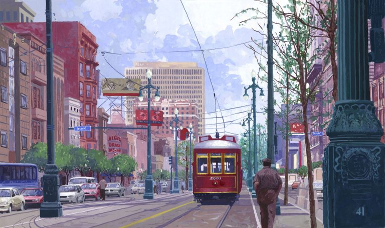 Red Trolley print 14 X 23